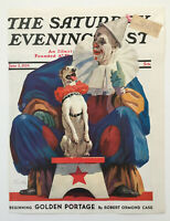 June 3, 1939 Saturday Evening Post Magazine Cover, Clown and Circus Dog