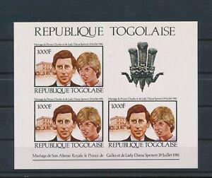 LO41549 Togo Charles & Diana wedding royalty imperf sheet MNH
