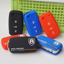 Silicone rubber key fob protect cover cap skin WOLFSBURG Emblem logo Sticker VW