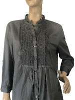 🌻 BLUE ILLUSION SIZE XL GREY EMBROIDERED PRINT TUNIC TOP NWT RRP $149.95