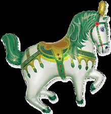 "CIRCUS PONY CAROUSEL HORSE GREEN SUPERSHAPE BALLOON PARTY 29"" FOIL BALLOON"