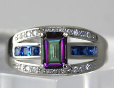Sterling Silver Emerald Cut Mystic Topaz Cubic Zirconia Accent Ring Size 8