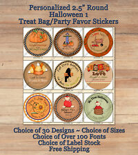 "12 Customized HALLOWEEN FALL 1 ROUND 2.5"" Treat Bag Stickers Pumpkins Baby Prim"