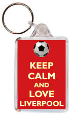 Keep Calm and Love Liverpool - Double Sided Large Keyring FC/Football Name Tag