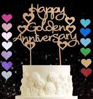 Happy Golden Wedding Anniversary glitter cake topper 50 years party celebration