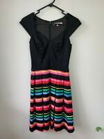 Review Black & Multicoloured Flare Dress - Size 6