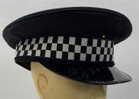 Genuine Police Peak Cap Black Patrol Wool Felt Uniform Display Collectors Gd 2