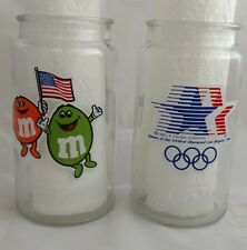 M&M's Olympic Glass Jar From 1984 Los Angeles Olympics set of 2 (C)