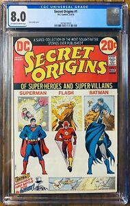 Secret Origins #1 CGC 8.0 (Superman, Flash, Batman Origin Reprints) 1973 DC