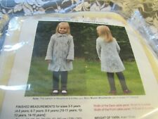 New Young Girl's Diamond Dust Coat Knitting Kit and Woodlands Yarn Stardust Gray