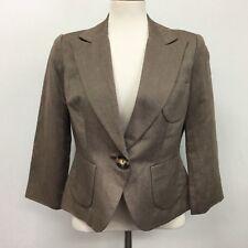 Oscar de la Renta Blazer Size 6 Womens Brown Print Linen & Silk Lined $199 NWT