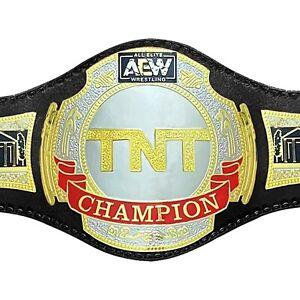 New HS AEW All Elite Wrestling TNT Champion Belt Replica Black Leather Adult 2mm
