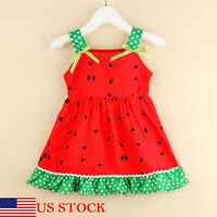 Summer Infant Toddler Kid Baby Girl Sleeveless Clothes Watermelon Party Dress US