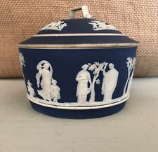 Wedgwood Cobalt Blue Jasperware Dish W/Lid