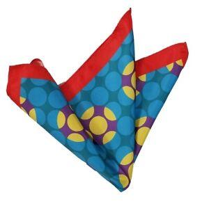 NEW - Silk Blend Pocket Square - Orange & Blue Geometric Circle Design 11.5in