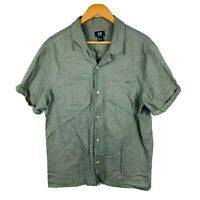 H&M Mens Button Up Shirt Size Medium Khaki Green Linen Blend Short Sleeve