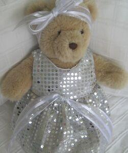 Teddy Bear Clothes, Handmade Tammy Silver Sequin-style Dress & Head Ribbon