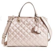 NWT GUESS Seraphina Satchel Handbag Purse Quilted Metallic Beige