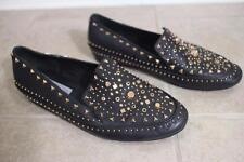 IVY KIRZHNER Women's Black Gold Stud Loafer Leather Shoes SIZE 10M (SH3000