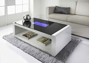 High Gloss Coffee Table - White & Black Gloss with Blue LED Lighting