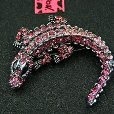 Crocodile Brooch Pin Pink Enamel Rhinestone Animal Charm Womens Jewellery New