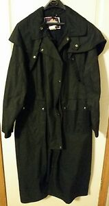 Australian Outfitters Oilskin Drover Coat Black Large with Wool Liner