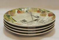 222 Fifth Brouette Autumn Harvest Thanksgiving Appetizer Plates Set of Four New