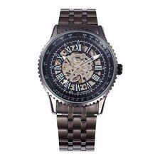 Runde mechanisch - (automatische) Armbanduhren aus Edelstahl mit Skelettuhr