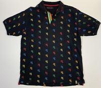 COOGI Black Rainbow Embroidered Monogram Logo All Over Print Polo Shirt Size XL