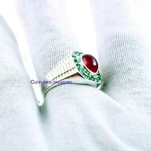 Natural Ruby & Emerald Gemstones with 925 Sterling Silver Ring For Men's