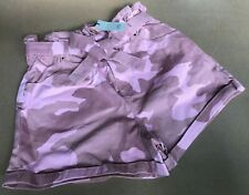 River Island Pink Camo Paper Bag Denim Shorts UK Size 10-12 NEW (UP/08)KW