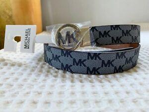 NWT Michael Kors MK WOMEN Logo Signature Monogram Twist Reversible Belt XL M