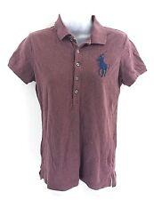 RALPH LAUREN Womens Polo Shirt M Medium Burgundy Cotton The Skinny Polo