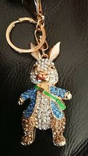 *UK* Crystal Diamante Peter Rabbit Bag Purse Keyring Charm gift rhinestone 6097