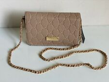 NEW! BEBE ALANA EMBOSSED SAFFIANO LEATHER CROSSBODY SLING BAG $69 TAUPE BROWN