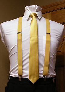 Matching skinny tie and suspenders set men's clip-on x back longer necktie prom