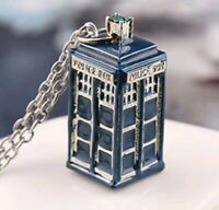 Fantastic Classic Doctor Who Tardis Phone Booth Double Heart Couples Necklace GA