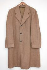 VTG 1950s Harris Tweed Overcoat 40L Brown Weave 3 Button Top Coat Made in USA