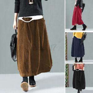 ZANZEA UK Womens Casual Loose Elastic Waist Corduroy Skirt High Waist Long Dress