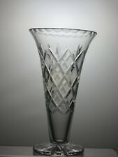 "STUNNING CUT GLASS LEAD CUT CRYSTAL VASE - 8 1/3"" TALL"