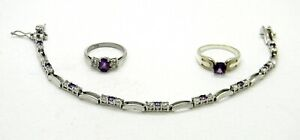 Lab Created Purple Amethyst & CZ  Sterling Silver Ring & Bracelet Set ~7.5 Inch~