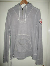 mens ABERCROMBIE & FITCH ZIP NECK GREY COTTON HOODIE SIZE LARGE