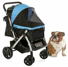 Hpz Pet Rover Premium Heavy-Duty Carriage Stroller for Sm/Md/Lg Dog & Cat - Blue