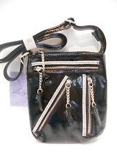 HANDBAG RHINESTONE ZIPPER CROSSBODY SHOULDER BAG STYLE PURSE BLACK NWT