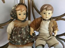 All Bisque Jointed Body 10�Boy And Girl.Girl Has Red Pig Tails .Rare Pair.Taiwan