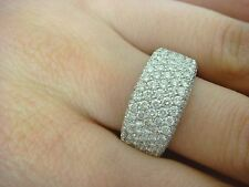 2 CARAT 7 ROW DIAMONDS 10MM WIDE DIAMOND BAND-RING 14K WHITE GOLD 9.6 GRAMS