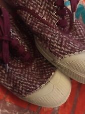 New listing Bensimon Concept Tennis Shoes Girly Tweed Rose Plaid Tartan Pumps Trainers BN