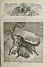 SHEEP, Dog, Wolf, Protector Of The Flock, w/text, Vintage 1870 Antique Art Print