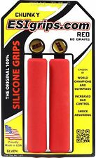 ESI Chunky 100% Silicone MTB Bike Grips Shock Absorbing 32mm / 130mm - Red