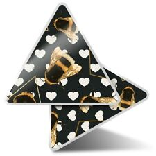 2 x Triangle Stickers 10 cm - Art Deco Gold Bumble Bees  #2255